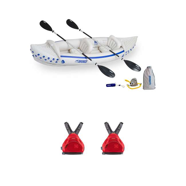 SE330K-DELUXE + 2 x NRS_40013_03_100 Sea Eagle Inflatable Kayak w/ Medium Life Vest (2 Pack)
