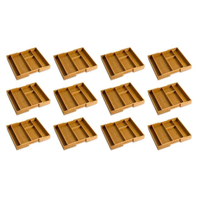 12 x LP-8893 Lipper Bamboo Expandable Gadget Organizer Tray (12 Pack)