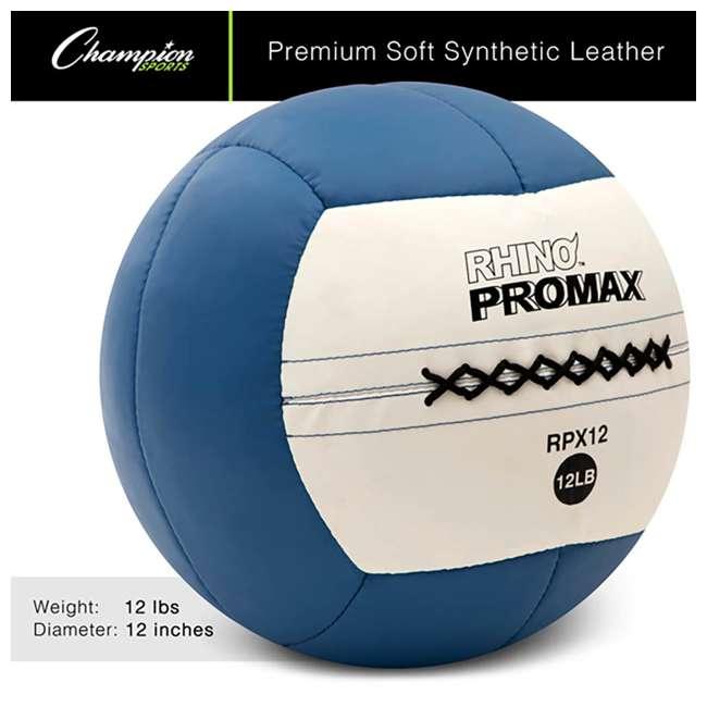 RPX12 Champion Sports Soft Shell Rhino Promax Slam Royal Blue Medicine Ball, 12 Pounds 1