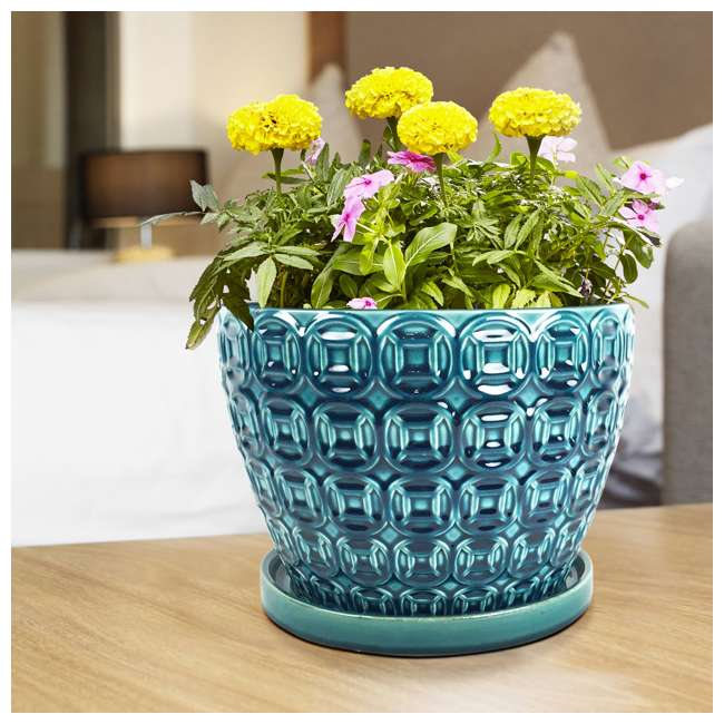 SPAT-CRM-047117 Southern Patio 12 Inch Ceramic Clay Mayer Flower Planter & Saucer Tray, Seafoam 2