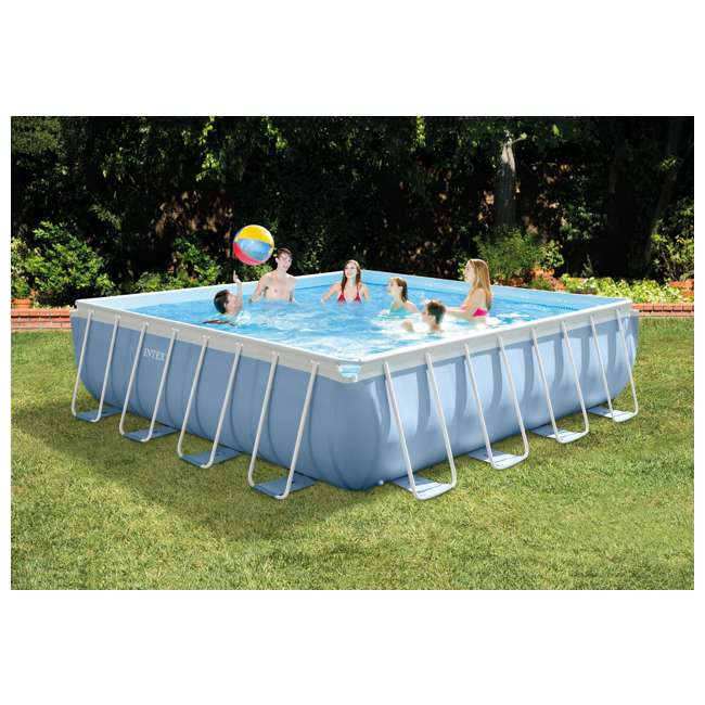 Intex 16 feet x 16 feet x 48 inches prism frame square for Average square footage of a pool