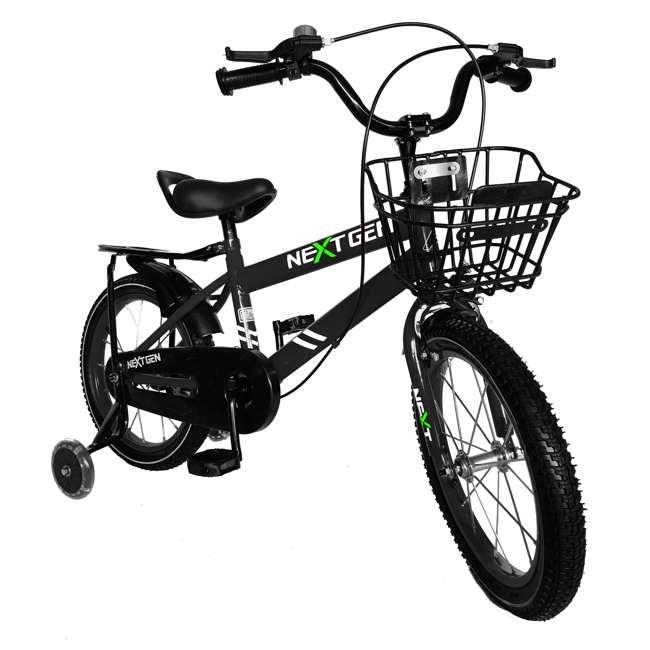 16BK-BLACK NextGen 16 Inch Childrens Kids Bike Bicycle with Training Wheels & Basket, Black