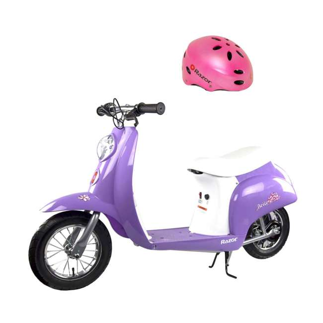 15130661 + 97784 Razor Pocket Mod Electric Powered Kids Retro Scooter & Helmet