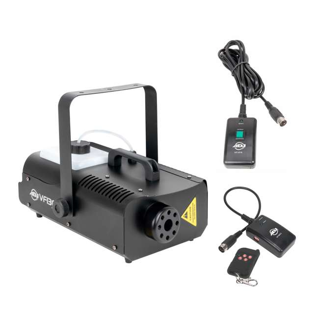 VF1300 + BLACK-24BLB + FJU American DJ 2.3 L Tank Mobile Fog Machine w/ Controls, Black Light, & Fluid 1