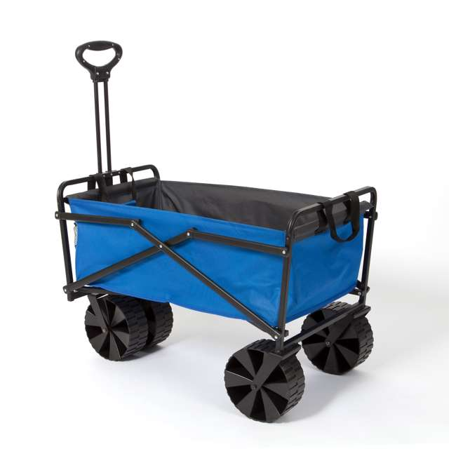 SUW-400-BLUE-GRAY-U-B Seina Manual 150 Pound Steel Frame Folding Cart Beach Wagon, Blue/Gray (Used) 2