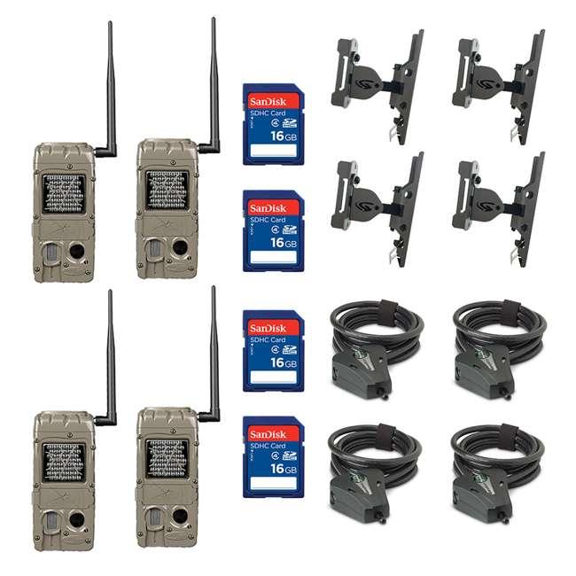4 x G-5062 + 4 x SD4-16GB-SAN + 4 x 3488-GENIUS-PT Cuddeback Game Camera (4pk) + SD Card (4pk) + Mount (4pk) + Security Cable (4pk)