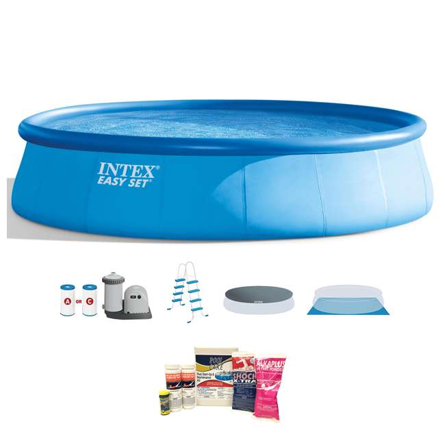26175EH + QLC-42003 Intex 18 x 4 Foot Inflatable Easy Set Pool w/ Ladder, Pump, & Cleaning Kit