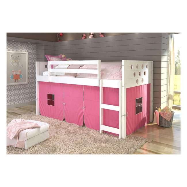 780A-TW-750C-TP Donco Kids Louvre Low Captain's Loft Pine Wood Twin Bed with Pink Tent, White