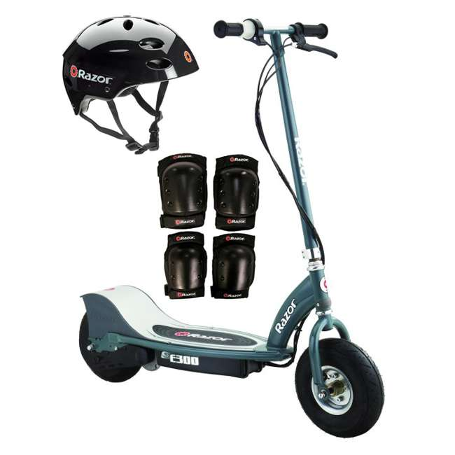 13113614 + 97778 + 96785 Razor E300 Electric Scooter (Grey) with Helmet, Elbow and Knee Pads