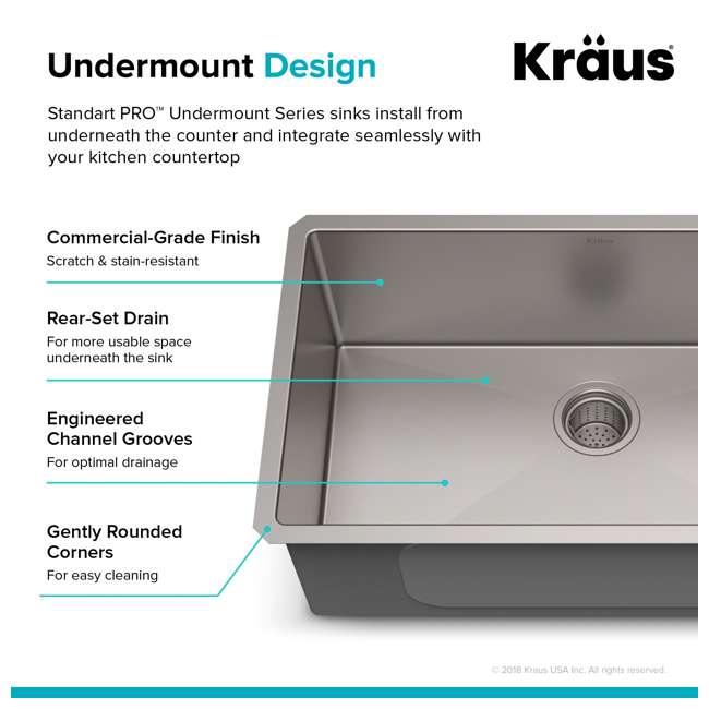 "KHU100-30-OB KRAUS Standart PRO 30""  Undermount Single Stainless Steel Sink (OPEN BOX) 6"