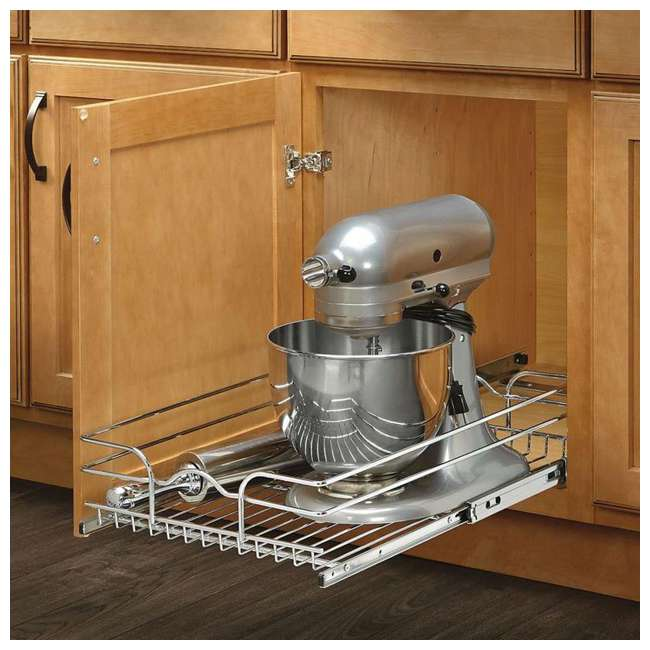 5WB1-1520-CR Rev-A-Shelf 15 Inch Wide 20 Inch Deep Base Kitchen Cabinet Pull Out Wire Basket 1