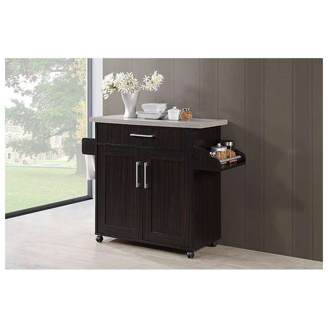 HIK78 CHOC-GREY Hodedah Wheeled Kitchen Island with Spice Rack and Towel Holder, Chocolate Gray 1