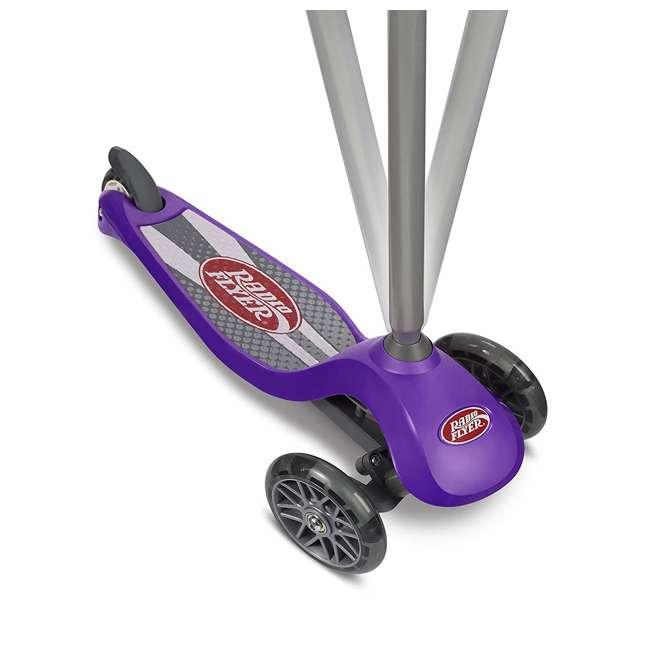 549PPZ Radio Flyer 549BZ Lean 'N Glide Kids 3-Wheel Scooter w/ Light Up Wheels, Purple 5