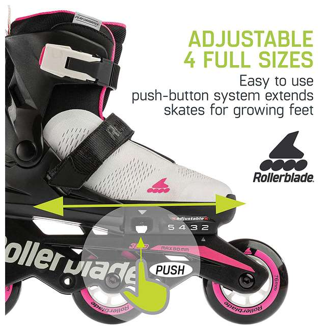 07065600500-5-8 Rollerblade Microblade 3WD Inline Adjustable Roller Skates for Kids, Gray & Pink 2