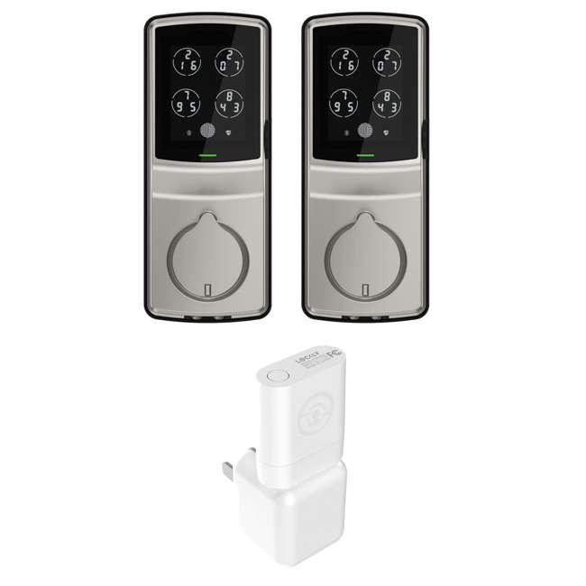 PGD728FSN + PGH200 Lockly Secure Plus Biometric Smart Deadbolt Lock, Nickel (2 Pack) w/ Door Sensor