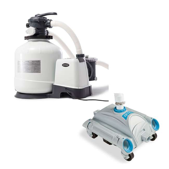 26651EG + 28001E Intex Pool Sand Filter Pump and Automatic Pool Vacuum
