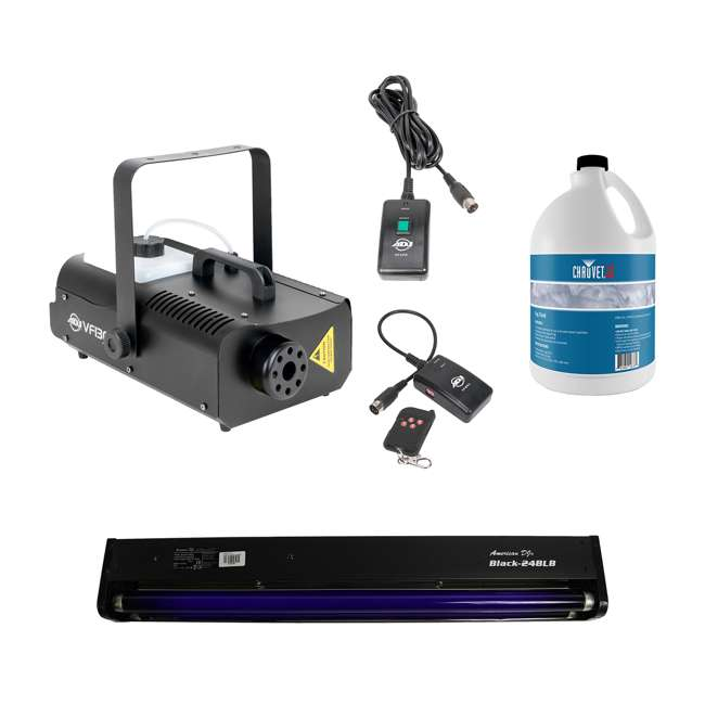 VF1300 + BLACK-24BLB + FJU American DJ 2.3 L Tank Mobile Fog Machine w/ Controls, Black Light, & Fluid