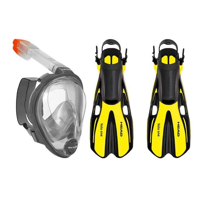 496325-BKBKS-M + 480203SFYLML Head Sea Vu Gray Snorkeling Mask with Yellow Fins, MedLg