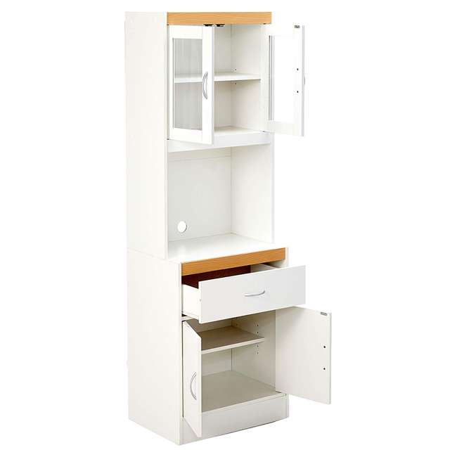 HIK96 WHITE Hodedah Freestanding Kitchen Storage Cabinet w/ Open Space for Microwave, White 2