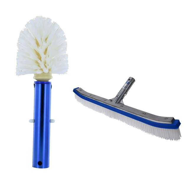 B3525 + B3518 Blue Devil Pool Corner and Step Cleaning Brush and Wall Cleaning Brush Deluxe