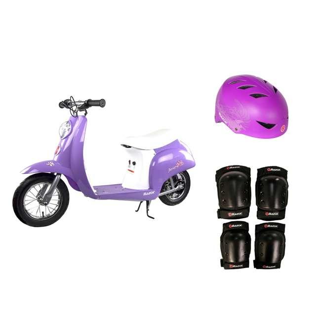 15130661 + 97973 + 96784 Razor Pocket Mod Mini Euro 24V Electric Kids Ride On Scooter w/ Helmet and Pads