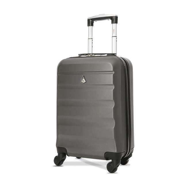 ABS322 CHARCOAL 22 + ABS322 ROSEGOLD 22 Aerolite Airline Approved Hardshell Carryon Suitcases Pack, Charcoal & Rose Gold 1