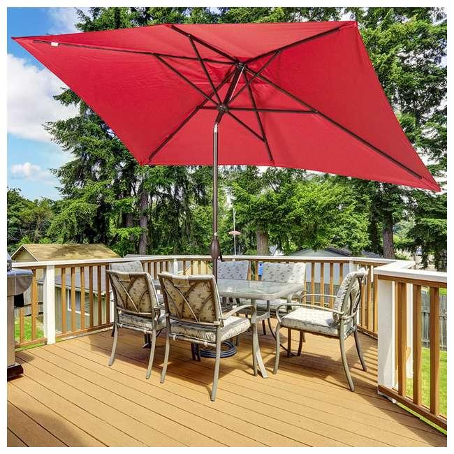 AP23386CTR Abba Patio 6.6 x 9.8 Feet Market Table Umbrella, Red 3