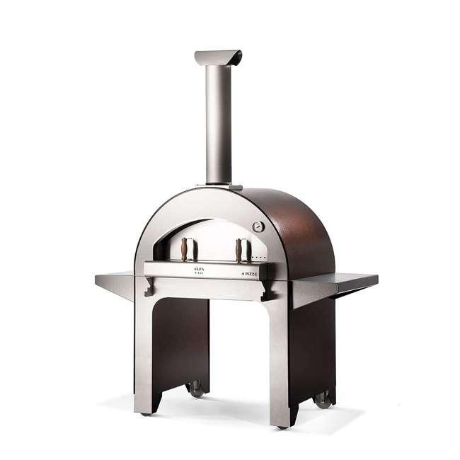 FX4PIZ-LRAM Alfa FX4PIZ-LRAM 4 Pizze Outdoor Stainless Steel Wood Fired Pizza Oven, Red