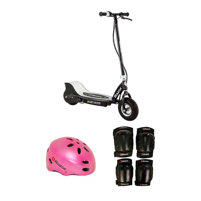 13116397 + 97783 + 96785 Razor Electric Kids Scooter, Black + Youth Sport Helmet + Elbow & Knee Pads