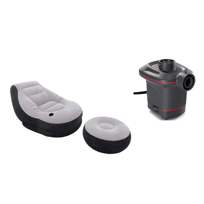 68564EP + 66636E Intex Inflatable Ultra Lounge Chair And Ottoman and 12-Volt Electric Air Pump