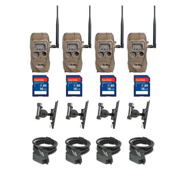 11438+ 4 x SD4 + 4 x 3488 + 4 x STC-CABLELOCK-BLK Cuddeback Game Camera (4 Pk) + SD Card (4 Pk) + Mount (4 Pk) + Security Cable (4 Pk)