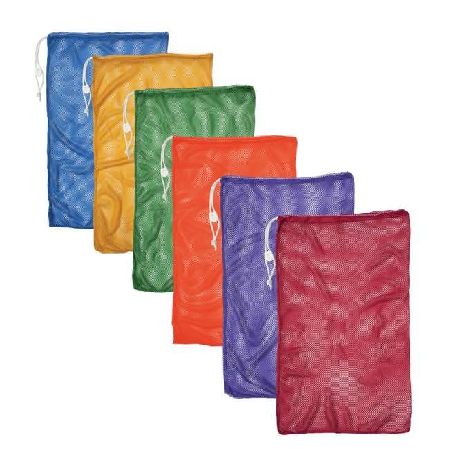 MB21SET Champion Sports 24 x 36 Mesh Drawstring Sport Equipment Bags, Set of 6 Colors