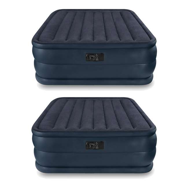 66717E Intex Queen Raised Air Mattress with Built-In Pump (2 Pack)