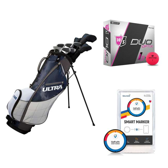 WGGC4360L + WGWP43500 + PGSMGps Wilson Men's Left-Hand Golf Clubs and Golf Balls and Golf Shot Distance Tracker