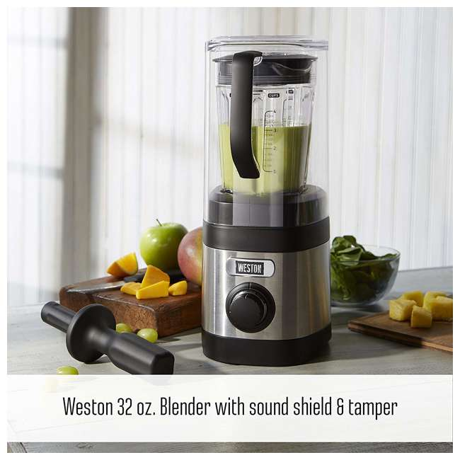 58917 Weston 58917 32 Ounce Blender w/ Sound Shield and Tamper 1