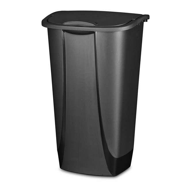 12 x 10939006-U-A Sterilite 11G SwingTop Clean Black Wastebasket Trash Can (Open Box) (12 Pack)
