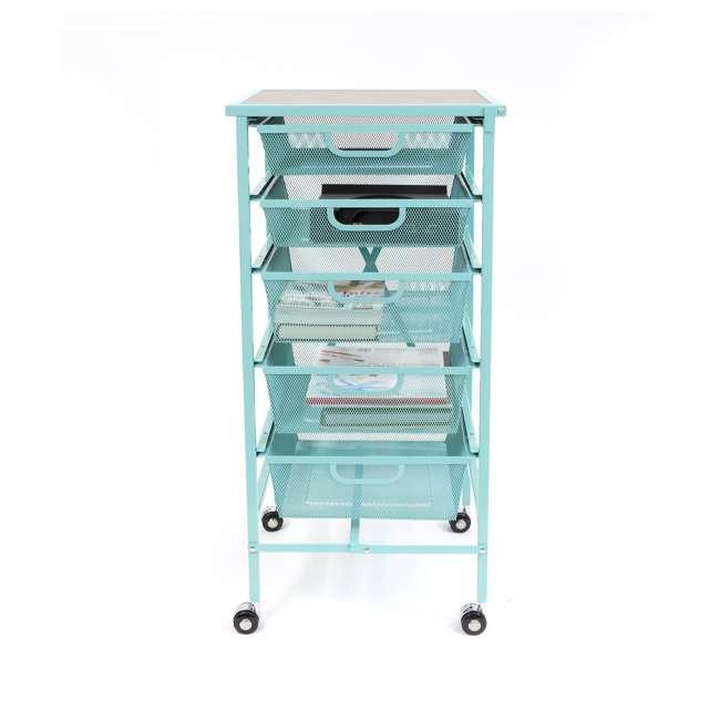 DFS-05-TURQ Origami Wheeled Foldable 5-Drawer Storage Cart, Turquoise  4