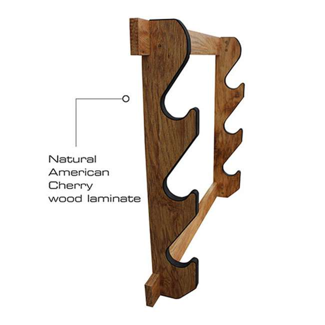 38-4040 Rush Creek Creations 38-4040 American Cherry Wooden 3 Gun Mounted Wall Rack 2