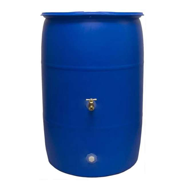 RB55-BLUE-U-A Good Ideas Blue 55G Recycled Plastic Rainwater Collection Barrel Drum (Open Box)