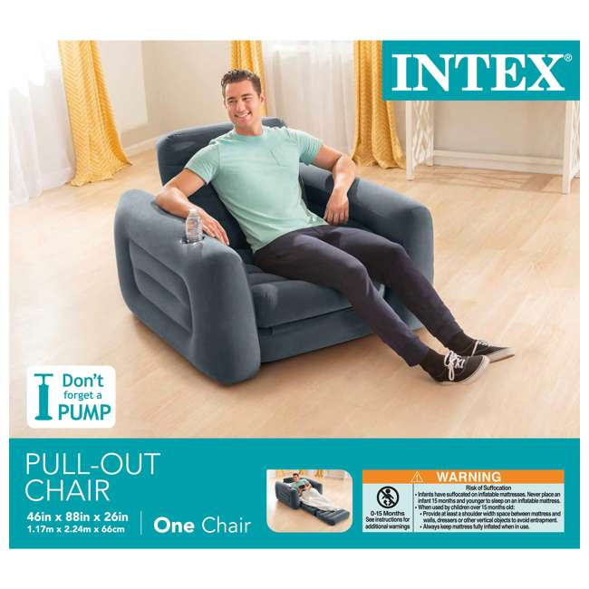 66551EP Intex Inflatable Pull Out Sofa Chair Sleeper with Twin Sized Air Bed Mattress 4
