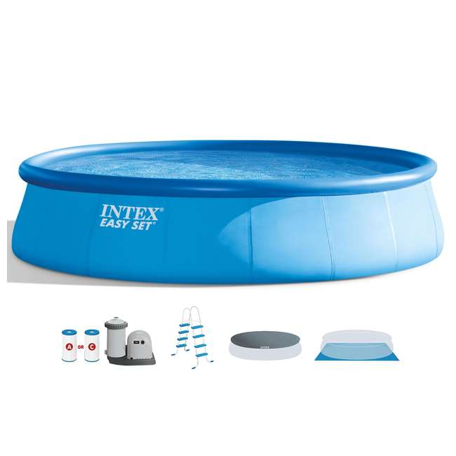 26175EH + QLC-42003 Intex 18 x 4 Foot Inflatable Easy Set Pool w/ Ladder, Pump, & Cleaning Kit 1
