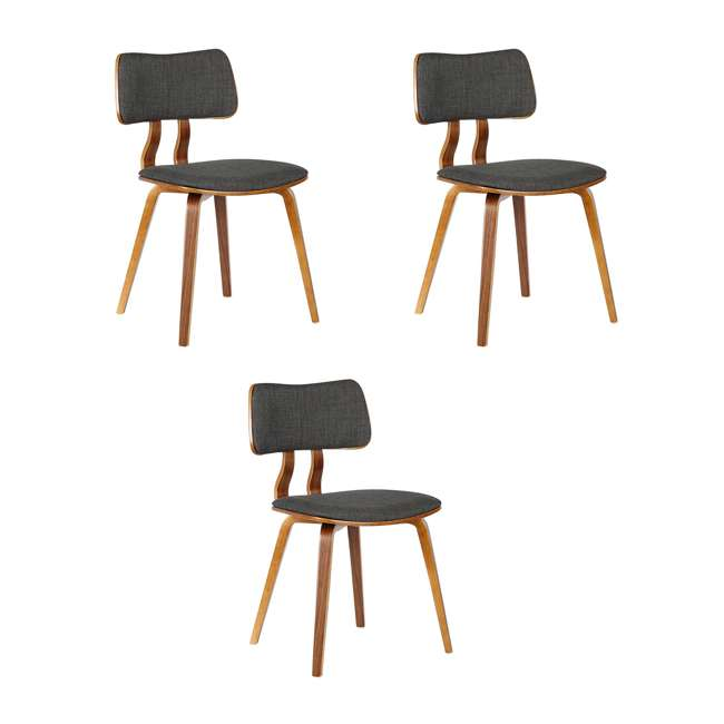 3 x LCJASIWACH Armen Living Jaguar Mid-Century Dining Chair in Walnut and Charcoal (3 Pack)