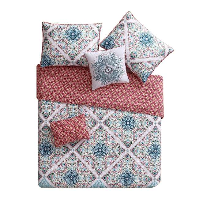WIN-5QT-KING-IN-MU VCNY Home Windsor Floral Medallion Pink 5 Piece Reversible Bed Quilt Set, King