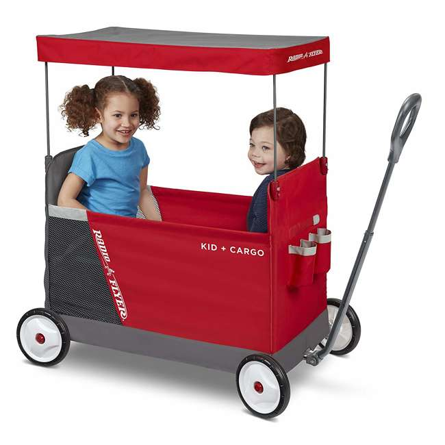 3965Z Radio Flyer Kid & Cargo 2 Seat Folding Wagon, Red 2