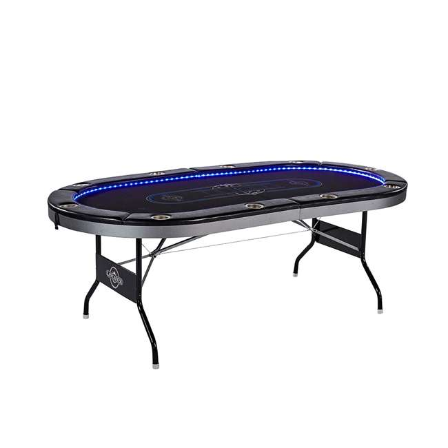 ARC084_017P Lancaster 10 Player Poker Game Table with Cup Holders, LED lights