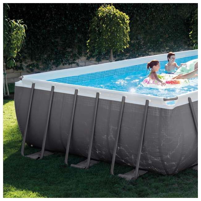 Intex 24 39 x 12 39 x 52 ultra frame rectangular swimming pool set 26361eh 2 x 58868ep 58821ep for Intex rectangular swimming pool