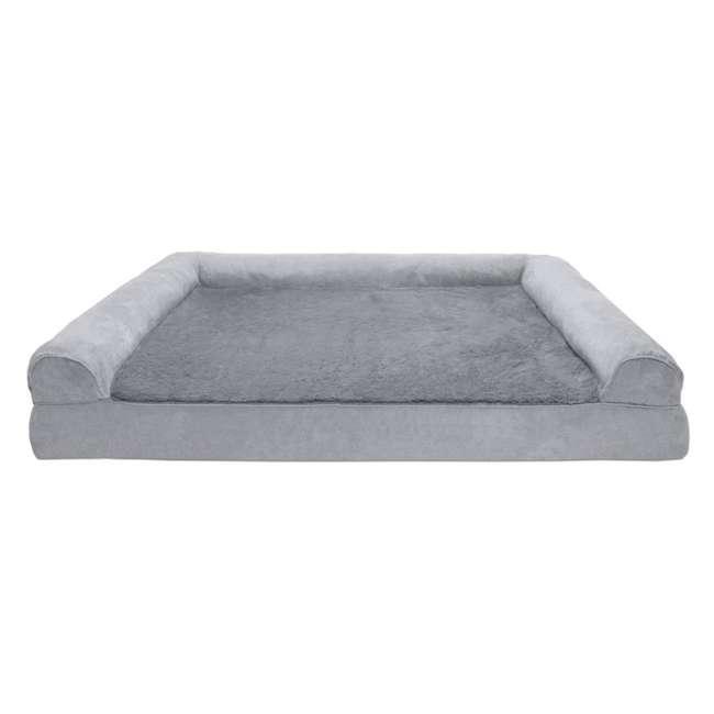 45636087 Furhaven Orthopedic Foam Ultra Plush & Suede Sofa Dog Bed, Gray, Jumbo Plus