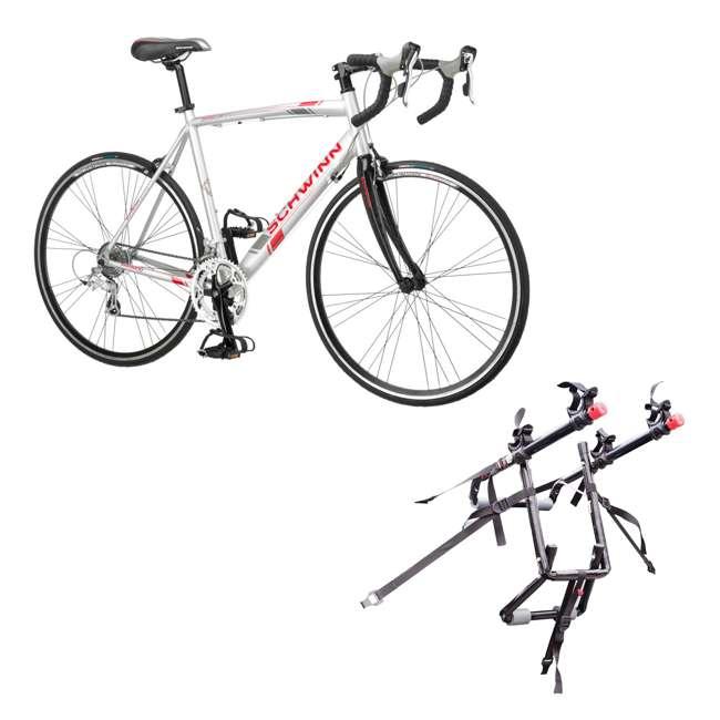S5491 + 102DN-R Schwinn 700C Phocus 1600 Womens Drop Bar Road Bicycle & 2 Bike Car Trunk Rack