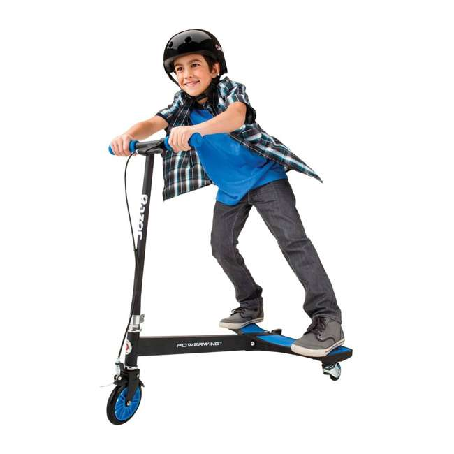 20036003 Razor PowerWing 3 Wheel Dual Inclined Caster Powered Side to Side Scooter, Blue (2 Pack) 2