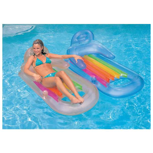 9162 + 2 x 58802EP Swimline Super Hoops Floating Pool Basketball Game + Intex King Kool Lounger with Cupholder (2 Pack) 8